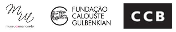Logos das entidades que apoiam (Museu da Marioneta, Fundação Calouste Gulbenkian, CCB)